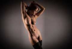 tanned, black stockings, naked, tits, nipples, belly, hot, brunette wallpaper