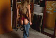 ass, back, tanned, panties, blonde, overalls, hot ass, long hair wallpaper