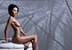 sexy, brunette, oiled, tanned, boobs, short hair, nude wallpaper