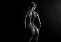 nude, ass, back, monochrome, oiled, wet wallpaper