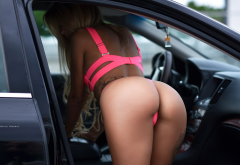 aleksandra zhukova, ass, tattoo, car, blonde, pink lingerie, sexy ass wallpaper