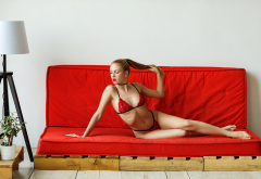 fia meos, couch, red panties, red lingerie, red bra, red lipstick, ribs, skinny wallpaper