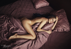 nude, tanned, ass, in bed, closed eyes, top view wallpaper