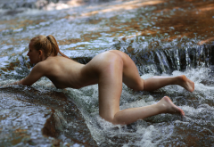 nude, ass, bent over, tanned, river, wet, water, tits, sexy wallpaper
