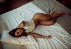 ass, legs, t-shirt, smiling, in bed, tanlines, tanned, hot wallpaper