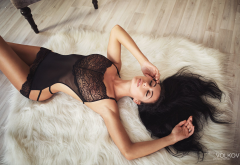 top view, see-through, tanned, fur, armpits, black lingerie, closed eyes wallpaper