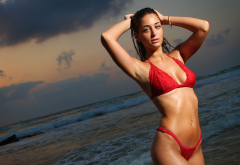 wet, tanned, belly, armpits, red bikini, wet hair, wet body, water drops, sea, sunset wallpaper