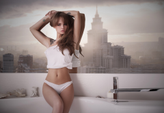 anastasia scheglova, white panties, belly, sitting, armpits, sexy wallpaper