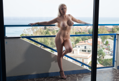 yasmin, photodromm, blonde, big tits, boobs, shaved pussy, naked, sea, hotel wallpaper