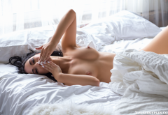 lana james, playboy, boobs, nipples, tanned, in bed, kiss wallpaper