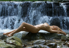 femjoy, lia may, waterfall, naked, wet, boobs, legs wallpaper