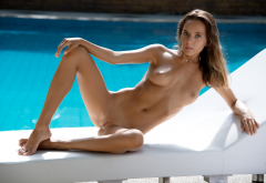 katya clover, pool, playboy, shaved pussy, nude, tits, tanned, labia, spread legs wallpaper
