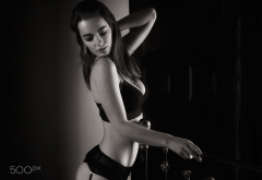 lidia savoderova, garter belt, black lingerie, monochrome, bra, cleavage wallpaper