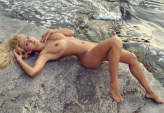 katya ad, naked, sea, tanned, boobs, legs, blonde, sea wallpaper