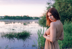 dress, big tits, boobs, outdoors, undressing, hot, lake, pond wallpaper