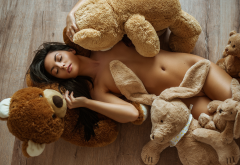 nude, tanned, closed eyes, teddy bear, belly wallpaper
