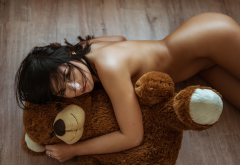 nude, tanned, teddy bear, ass, sexy, black hair wallpaper