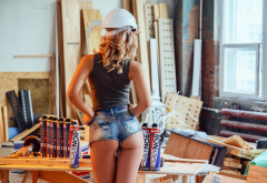 ass, tanned, helmet, blonde, back, jeans shorts, sexy ass wallpaper