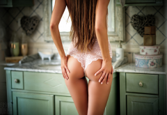 brunette, ass, back, the gap, lingerie, long hair, lace, hands on ass, bathroom wallpaper