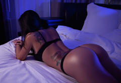 tanned, ass, in bed, black lingerie, tattoo, sexy ass wallpaper