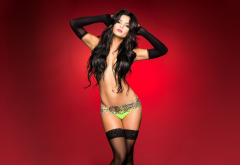 jackeline cardona, brunette, model, strategic covering, red background, pantyhose, panties, sexy, topless wallpaper