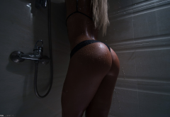 shower, black panties, blonde, ass, water, tanned, wet, hot ass wallpaper