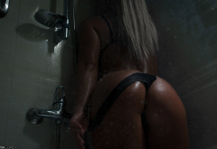shower, black panties, blonde, ass, water, tanned, wet, hot ass, panties down wallpaper