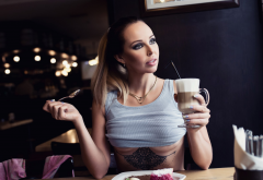 sitting, cup, underboob, tattoo, necklace, boobs, cafe wallpaper
