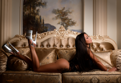 tanned, ass, high heels, closed eyes, couch, tattoo, black hair wallpaper