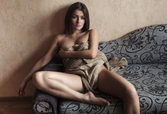 strategic covering, couch, nude, sitting, tanned, sex, brunette wallpaper