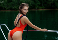 yacht, outdoors, water, smiling, tattoo, ass, back, one-piece swimsuit, sexy wallpaper