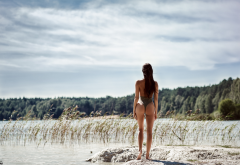 brunette, one-piece swimsuit, back, shore, outdoors, lake, ass, swimsuit wallpaper