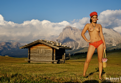 anna scharl, brunette, red panties, topless, tits, tanned, log cottage, sexy, tanned, playboy, mountains wallpaper