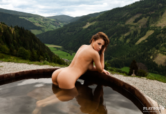 katharina wyrwich, pool, playboy, naked, ass, brunette, model, tits, mountains, sexy ass wallpaper