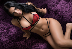 tanned, lingerie, top view, belly, red bra, black hair, hot wallpaper