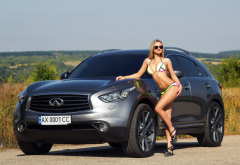 blonde, tanned, car, sunglasses, high heels, bikini, infiniti, car wallpaper