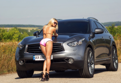 infiniti, car, blonde, tanned, sunglasses, ass, back, high heels, bikini wallpaper