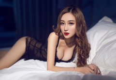 asian, in bed, black lingerie, red lipstick, sexy, brunette wallpaper