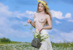 genevieve gandi, wreath, wild flowers, outdoors, boobs, big tits, topless wallpaper