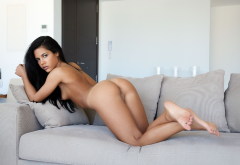 apolonia, ass, tanned, tiny tits, black hair, naked wallpaper