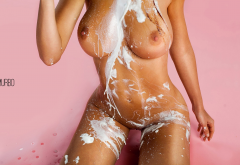 tanned, nude, shaved pussy, boobs, nipples, kneeling, pink background, big tits, wet, milk wallpaper