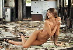 naked, nude, belly, hips, tattoo, high heels, long hair, abandoned, sexy wallpaper