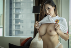 asian, busty, boob, big tits, nipples, flashing, brunette wallpaper
