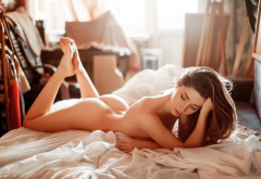 ass, naked, brunette, in bed wallpaper