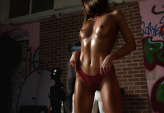 oiled, topless, tanned, tits, boobs, red panties, panties, navel wallpaper