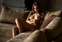 boobs, tits, amateur, naked, legs, sofa, brunette wallpaper