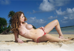 emily addison, penthouse, brunette, beach, sea, boobs, big tits, topless wallpaper