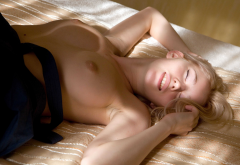 mila i, in bed, blonde, boobs, big tits, nipples, closed eyes wallpaper