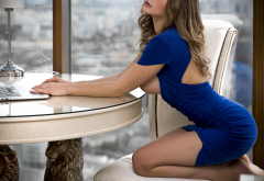 olga kobzar, blue dress, chair, boobs, table, portrait, closed eyes, kneeling, big tits, hot wallpaper