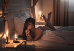 nude, tanned, candles, ass, in bed, pillow wallpaper